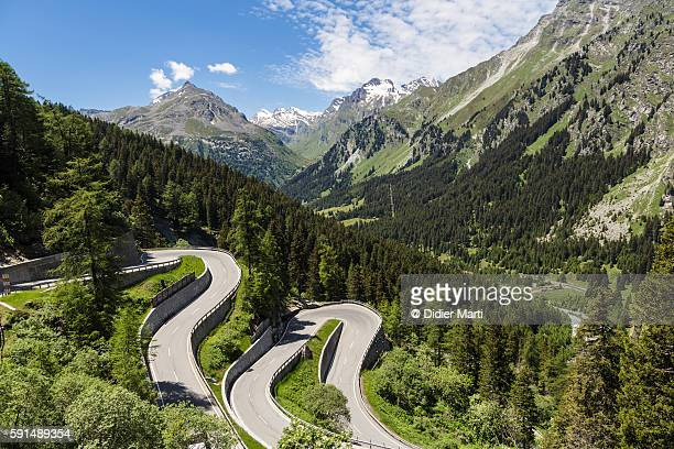 Maloja pass in Canton Graubunden, Switzerland