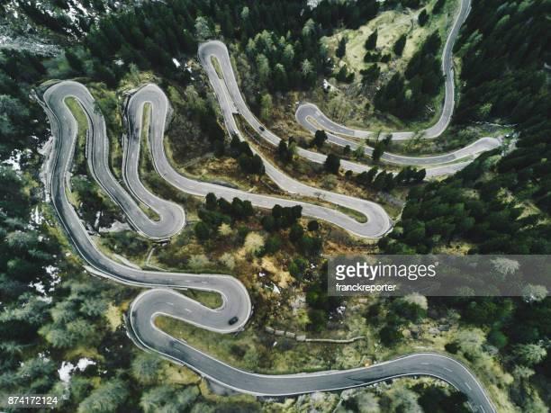 maloja pass road in switzerland in autumn
