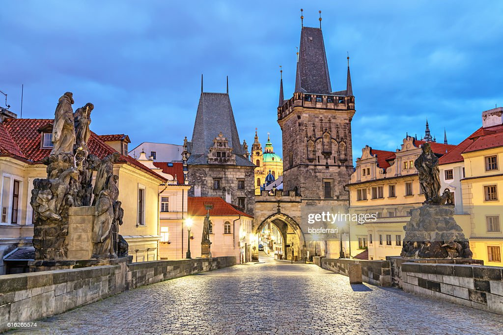 Malostranska tower on Charles bridge in Pragu : Stock Photo