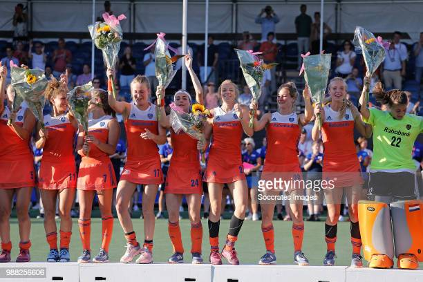 Malou Pheninckx of Holland Women Maria Verschoor of Holland Women Xan de Waard of Holland Women Ireen van den Assem of Holland Women Eva de Goede of...
