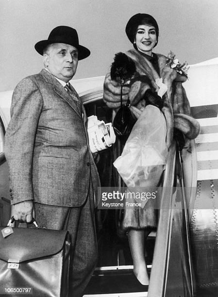 Malpensa International Airport Maria Callas And Giovanni Battista Meneghini Leaving For The United States Tour January 1958