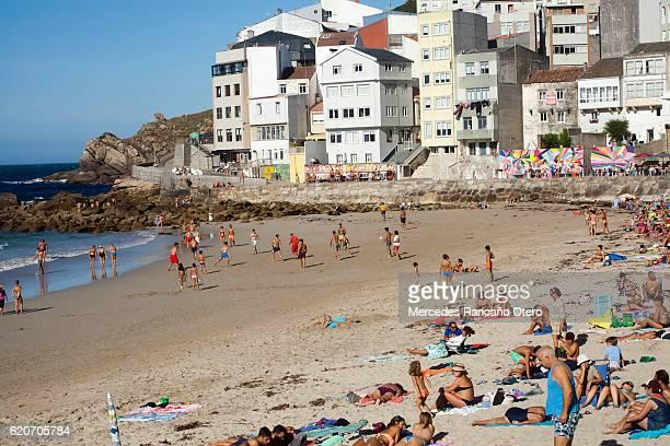 Malpica beach in A Coruña, Galicia, Spain, summertime.