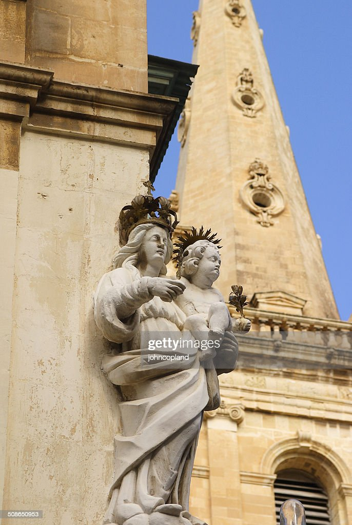 Malta, La Valletta, Statue of the Virgin Mary. : Stock Photo