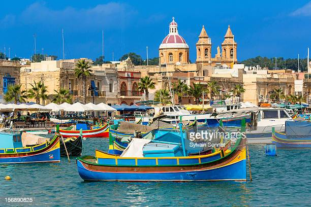 malta, marsaxlokk harbor - marsaxlokk stock pictures, royalty-free photos & images