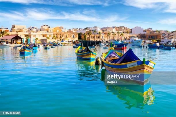 malta - mediterranean travel destination, marsaxlokk fishing village - marsaxlokk stock pictures, royalty-free photos & images