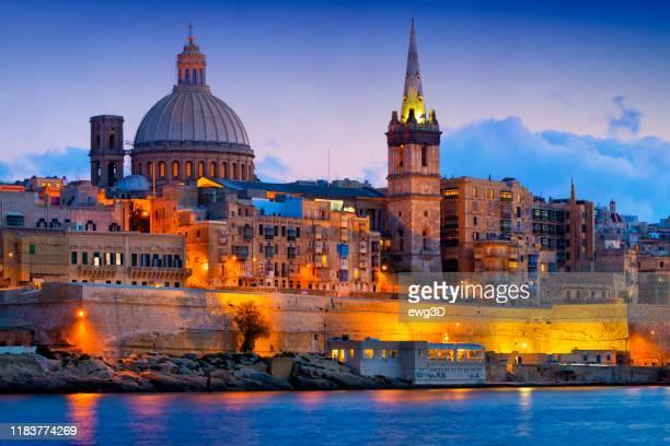 malta - mediterranean travel destination, valletta with cathedral of saint paul - marsaxlokk stock pictures, royalty-free photos & images