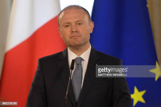 Malta Prime Minister Joseph Muscat gives a press conference on June 27 2018 in Valletta announcing that the Lifeline a rescue boat stranded for days...