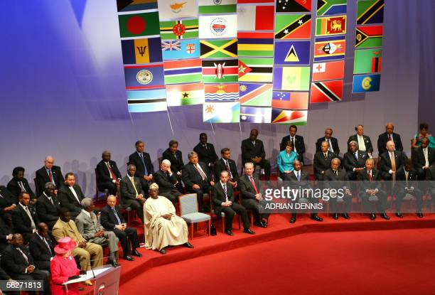 Queen Elizabeth II gives a speech during the opening ceremony of the Commonwealth heads of governement meeting at the Mediterranean conference center...