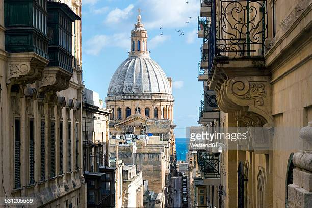 malta, valletta, basilica our lady of mount carmel - valletta stock pictures, royalty-free photos & images