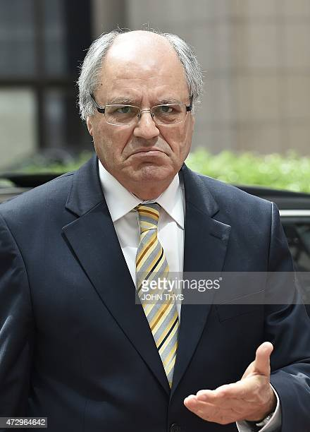 Malta's Finance Minister Edward Scicluna arrives on May 11 2015 for an Eurogroup meeting at the European Council in Brussels AFP PHOTO /JOHN THYS