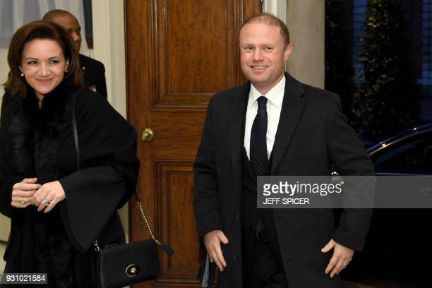 Malta's Prime Minister Joseph Muscat and his wife Michelle attend the 2018 Commonwealth Day reception at Marlborough House on March 12 2018 in London...