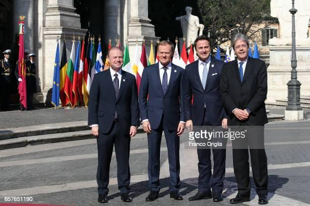 Malta's Prime Minister Joseph Muscat European Council President Donald Tusk Luxembourg's Prime Minister Xavier Bettel and Italy's Prime Minister...