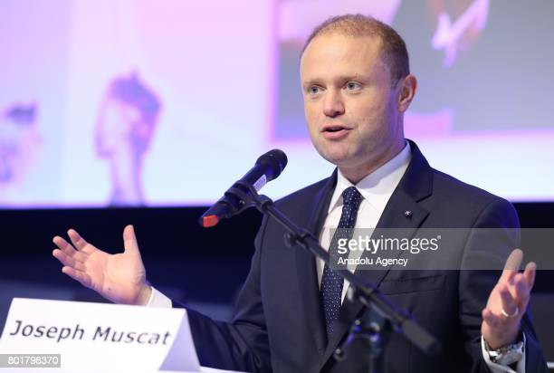 Malta's Prime Minister Joseph Muscat makes the opening speech during the 7th Cohesion Forum in Brussels Belgium on June 27 2017