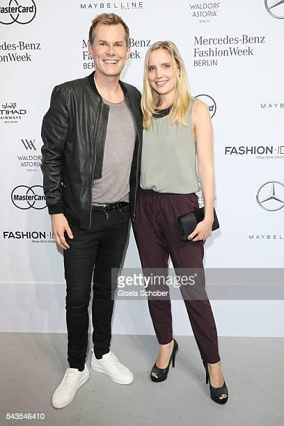 Malte Arkona and AnnaMaria Arkona attend the Minx by Eva Lutz show during the MercedesBenz Fashion Week Berlin Spring/Summer 2017 at Erika Hess...