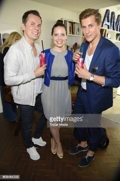 Malte Arkona his wife AnnaMaria Arkona and Lukas Sauer attend the Klambt Fashion Cocktail in Berlin at Soho House on July 5 2017 in Berlin Germany