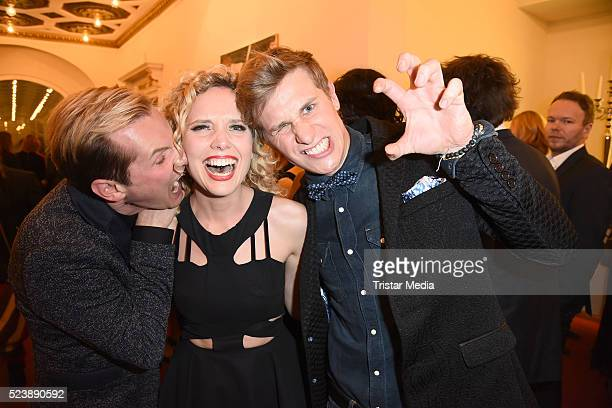 Malte Arkona with his wife Anna-Maria Arkona and Lukas Sauer attend the 'Tanz der Vampire' Musical Premiere on April 24, 2016 in Berlin, Germany.