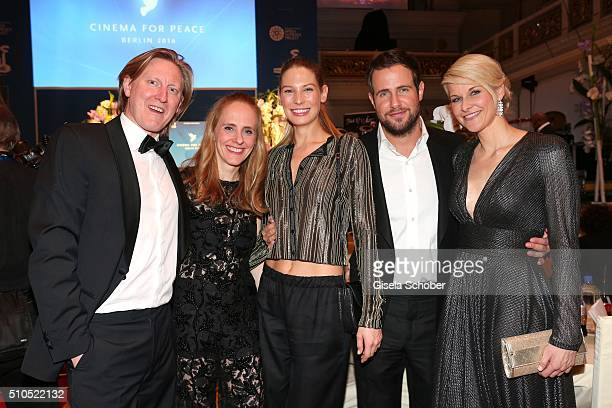 Malte Biss and his wife Julia Biss Sarah Brandner and her boyfriend Michi Beier Natascha Gruen during the Cinema For Peace Gala 2016 during the 66th...