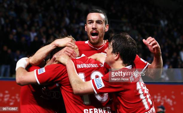 Malte Metzelder of Ingolstadt celebrates with his team mate his team's 2nd goal the Second Bundesliga play off leg two match between Hansa Rostock...