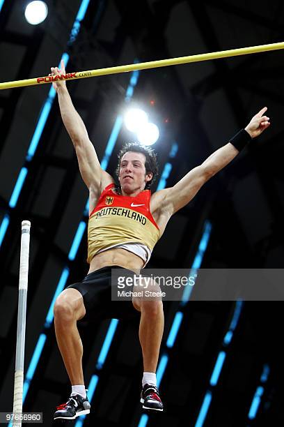 Malte Mohr of Germany celebrates in the Mens Pole Vault Qualification during Day 1 of the IAAF World Indoor Championships at the Aspire Dome on March...