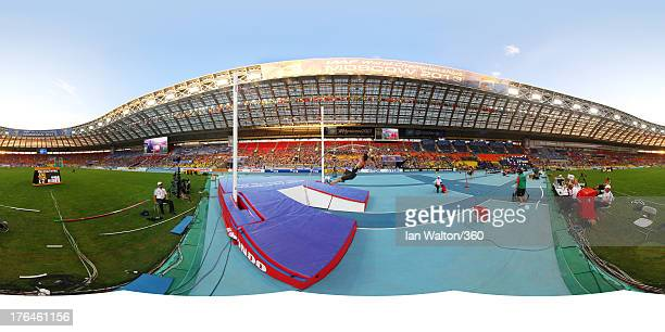 Malte Mohr of Germany competes in the Men's Pole Vault final during Day Three of the 14th IAAF World Athletics Championships Moscow 2013 at Luzhniki...