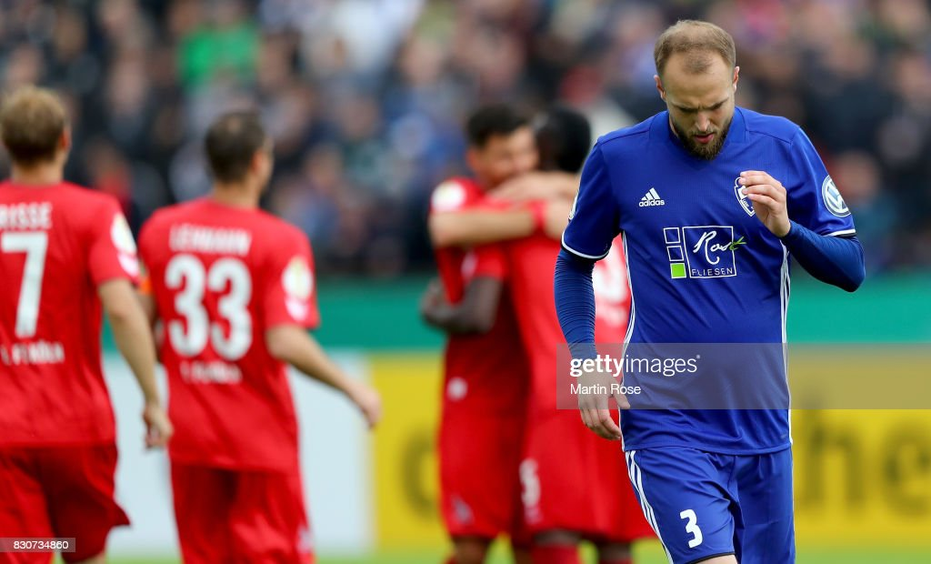 Malte Soentgerath of Leher TS reacts during the DFB Cup first round match between Leher TS and 1. FC Koeln at Nordseestadion on August 12, 2017 in Bremerhaven, Germany.