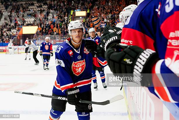 Malte Strömwall of Växjö Lakers has just scored the tying goal 1-1 during the Champions Hockey League group stage game between Vaxjo Lakers and...