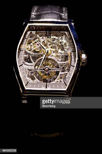 A Malte Tourbillon open worked luxury wristwatch manufactured by Vacheron Constantin a watchmaking unit of Cie Financiere Richemont SA at the Salon...