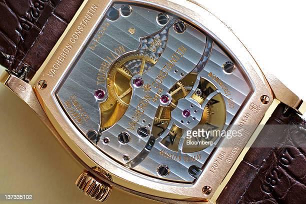 A Malte Tourbillon wristwatch by Vacheron Constanin a watchmaking unit of Cie Financiere Richemont SA is arranged for a photograph at the Salon...
