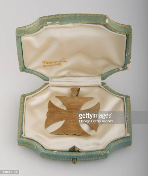 Maltese cross pendant awarded to Bertha Palmer 1868 Medal of academic honor awarded to Mrs Bertha Honore from the Convent and Academy of the...