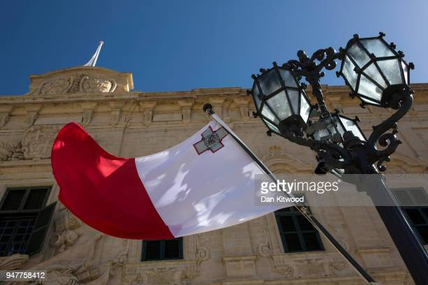 Maltese flag flies outside the Auberge de Castille on March 11 2018 in Valletta Malta This series of images forms part of an investigation by the...