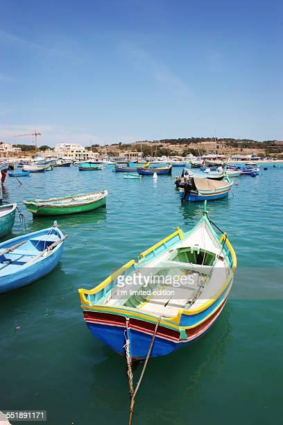 maltese luzzu boats - marsaxlokk stock pictures, royalty-free photos & images