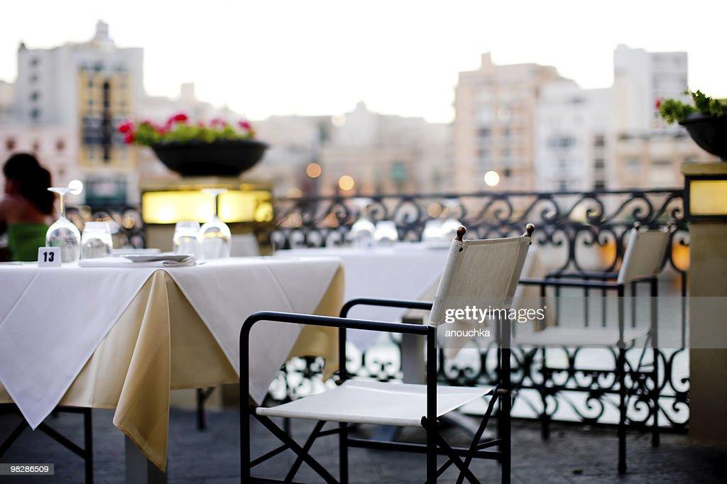 Maltese Outdoor Restaurant in the evening : Stock Photo