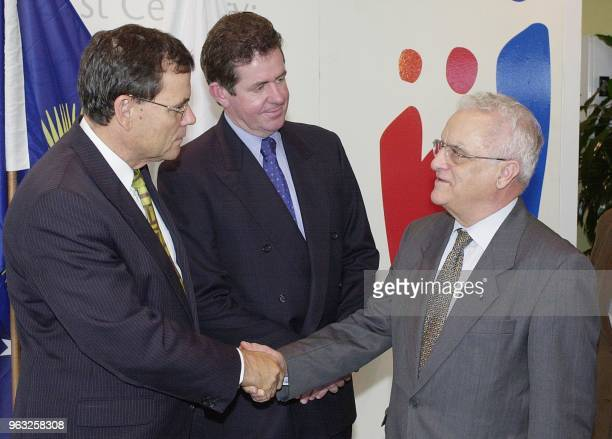 Maltese Prime Minister Dr Edward FenechAdami is welcomed by Queensland Minister for the Arts Matt Foley and Australian MP Peter Slipper to the...