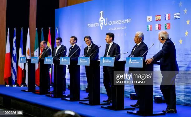 Maltese Prime Minister Joseph Muscat Greek Prime Minister Alexis Tsipras French President Emmanuel Macron Cypriot President Nicos Anastasiades...