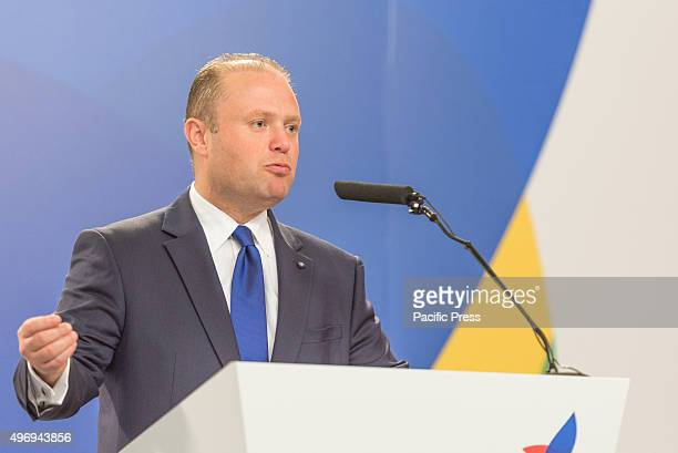 Maltese Prime Minister Joseph Muscat talks to the media on a join press conference at the end of the Valletta Summit on migration Topic of the summit...