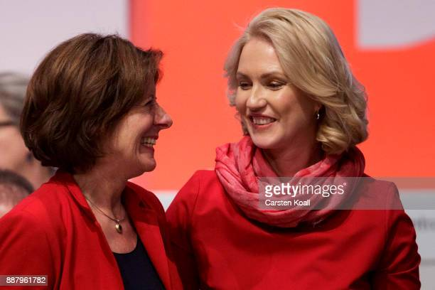 Malu Dreyer and Manuela Schwesing , vice-chairwomen of the of the German Social Democrats , attend the federal party congress on December 7, 2017 in...