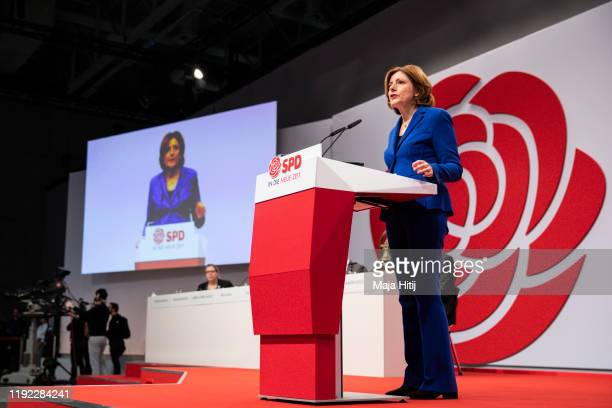 Malu Dreyer, co-interim head of the German Social Democrats , speaks at the SPD federal party congress on December 6, 2019 in Berlin, Germany. SPD...