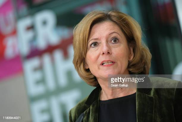 Malu Dreyer, co-interim head of the German Social Democrats , speaks to the media the day after state elections in Thuringia on October 28, 2019 in...