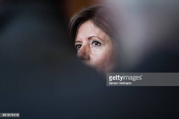 Malu Dreyer, Governor of Rhineland-Palatinate and current President of the German Federal Council speaks to the media at the German Federal...