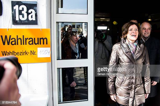 Malu Dreyer, incumbent governor of Rhineland-Palatinate and member of the German Social Democrats , smiles after casting her ballot in...
