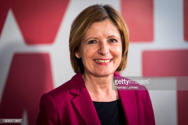 Malu Dreyer, Minister President of Rhineland-Palatinate and member of the SPD, pictured after recording an election campaign broadcast in a living...