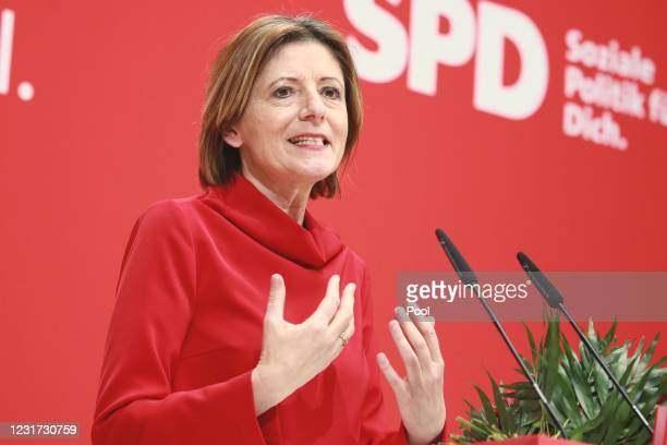 Malu Dreyer of the Social Democratic Party attends the press statement by the SPD on the results of the state elections in North Rhine-Westphalia and...