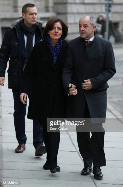Malu Dreyer, President of the Federal Council , and her husband Klaus Jensen attend a church service at St. Hedwigs cathedral prior to the election...
