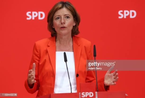 Malu Dreyer, prime minister of the state of Rhineland-Palatinate , attends a press conference at the German Social Democrats headquarters on June 03,...