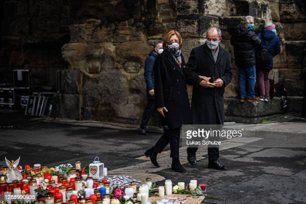 Malu Dreyer, SPD, prime minister of the German state of Rhineland-Palatinate, and her husband Klaus Jensen gather in the city center to commemorate...