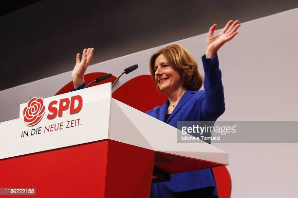 Malu Dreyer speaks as she attends the SPD federal party congress on December 6, 2019 in Berlin, Germany. SPD members nationwide voted for the pair...