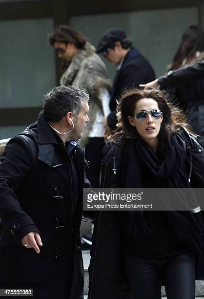 Malu leaves M30 morgue to the the funeral chapel for the flamenco guitarist Paco de Lucia at Auditorio Nacional on February 28 2014 in Madrid Spain