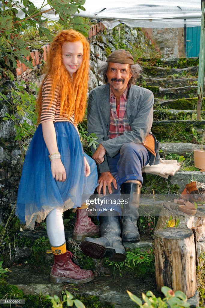 Malu Leicher and Christoph Maria Herbst pose for photographs during a set visit of 'Liliane Susewind' on August 18, 2017 in Schleiden, Germany.