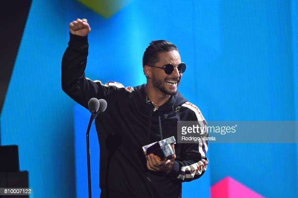 Maluma accepts an award during Univision's 'Premios Juventud' 2017 Celebrates The Hottest Musical Artists And Young Latinos ChangeMakers at Watsco...