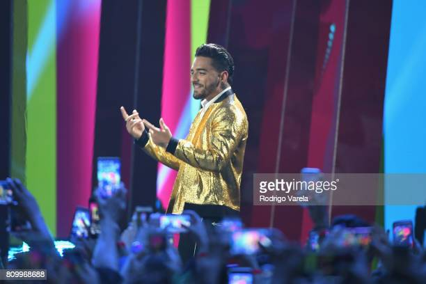 Maluma accepts an award on stage during Univision's 'Premios Juventud' 2017 Celebrates The Hottest Musical Artists And Young Latinos ChangeMakers at...